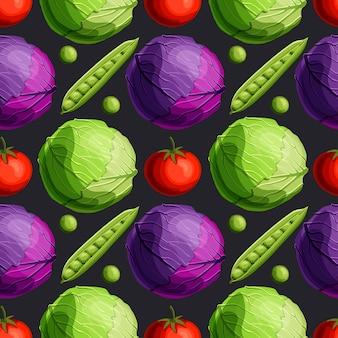 Legumes frescos brilhantes repolho verde e vermelho, tomate e ervilhas padrão sem emenda
