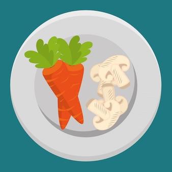 Legumes frescos de cenoura e cogumelos