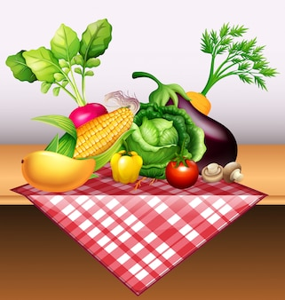 Legumes frescos e frutas na mesa
