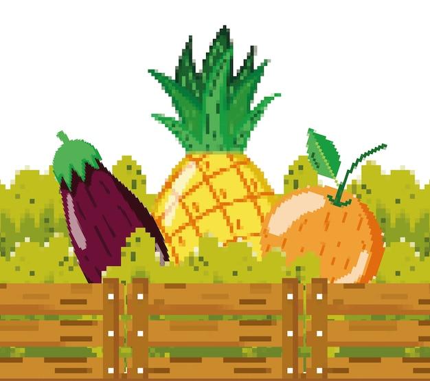 Legumes frescos e frutas pixelizada