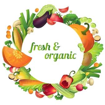 Legumes frescos e orgânicos maduros rodada composição com círculo de símbolos e texto editável