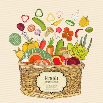 Legumes frescos em uma cesta