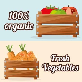 Legumes frescos orgânicos com imagem de caixa de madeira
