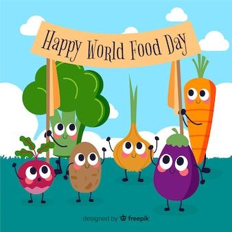 Legumes frescos, segurando um cartaz com o dia mundial da comida feliz