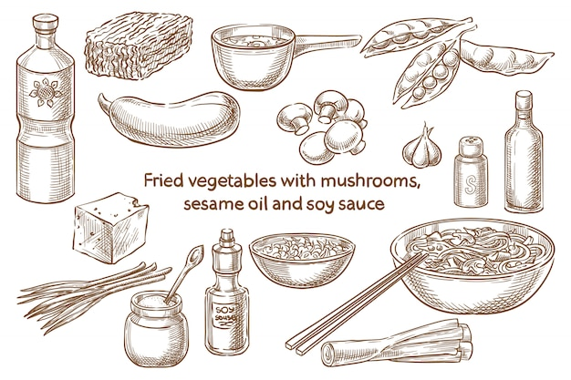 Legumes grelhados com cogumelos, óleo de gergelim e molho de soja. comida japonesa ingredientes. desenho vetorial