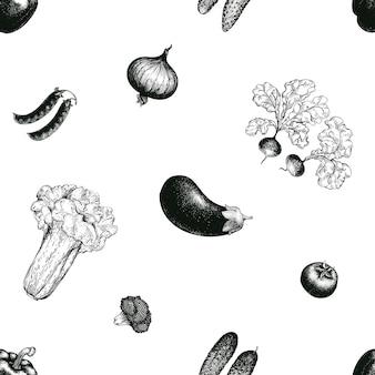 Legumes mão desenhada vetor sem costura padrão