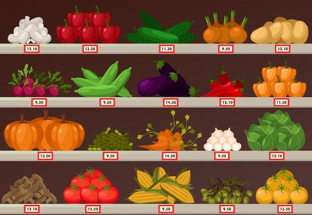 Legumes na vitrine do mercado ou barraca de loja