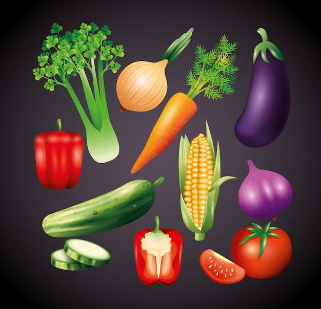 Legumes orgânicos frescos, alimentação saudável, estilo de vida saudável ou dieta em fundo preto