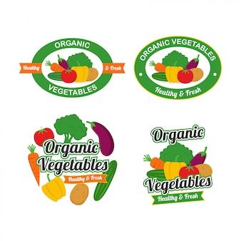 Legumes orgânicos frescos logo design vector