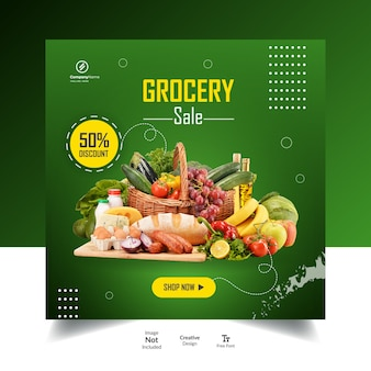 Legumes ou instagram de mercearia e postagem em mídia social ou design de anúncios.