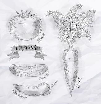 Legumes pintados em estilo vintage