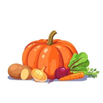 Legumes recém-arrancados em uma boa composição