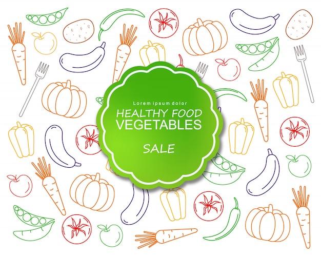 Legumes saudáveis cartaz linha artística