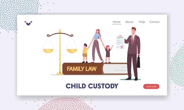 Lei da família, modelo de página inicial de custódia infantil. minúsculo personagem-mãe com crianças pequenas e advogado em enormes escalas no tribunal de justiça durante a audiência. ilustração em vetor desenho animado