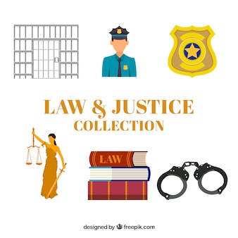 Lei e justiça coleção com design plano