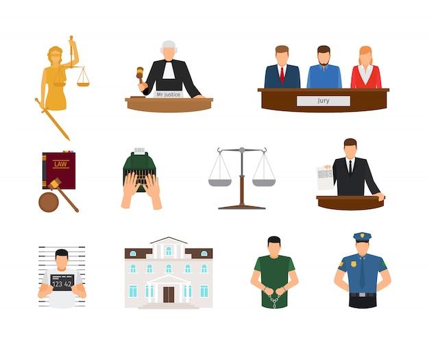 Lei e justiça tribunal e castigo ícones lisos