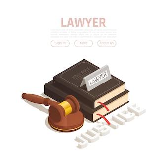 Lei justiça composição isométrica com botões editáveis de texto e livros e martelo de madeira