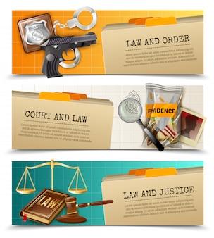 Lei justiça flat horizontals banners set