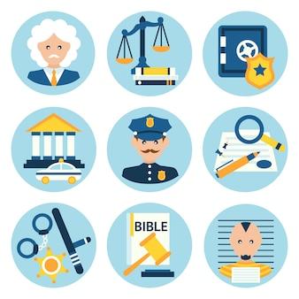 Lei justiça polícia ícones