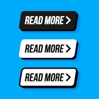 Leia mais botão colorido definido com ícones web vector illustration.