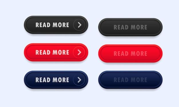 Leia mais conjunto de botões. vetor em fundo branco isolado. eps 10.