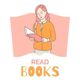 Leia o modelo de design de banner de livros. menina lendo ilustração de contorno dos desenhos animados do livro. passatempo inteligente e intelectual.