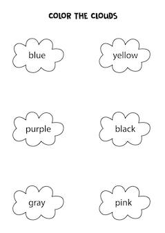 Leia os nomes das cores e das nuvens em preto e branco. página para colorir para crianças.