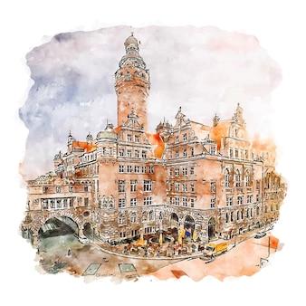 Leipzig germany ilustração em aquarela de esboço desenhado à mão
