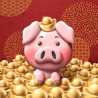 Leitão adorável com lingote de ouro brilhante sobre fundo vermelho