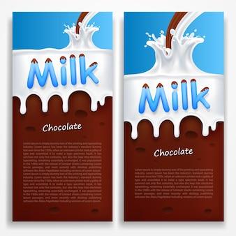 Leite com bandeira de arte chocolate. ilustração vetorial