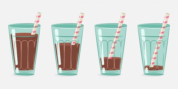 Leite com chocolate, cacau em um copo com um canudo de coquetel. desenho vetorial definido.