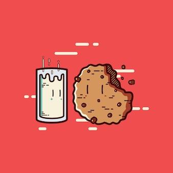 Leite com desenho animado de biscoito