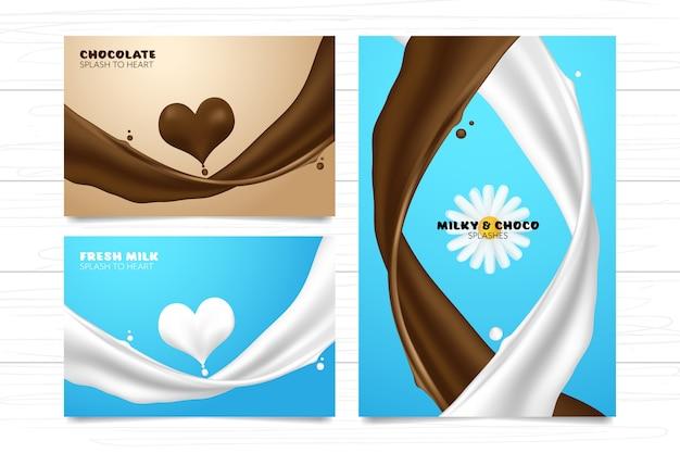Leite creme de respingo e chocolate para coleção de modelo de forma de coração no fundo de madeira branco