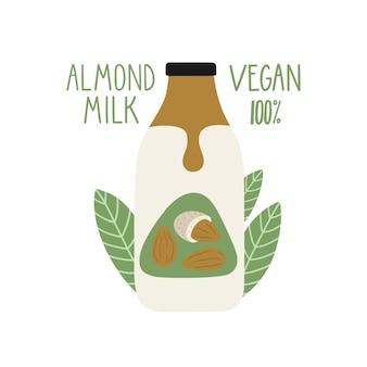 Leite de amêndoa em uma garrafa de desenho animado. embalagem de leite vegan