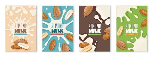 Leite de amêndoa. modelo de design de pacote de lácteos, publicidade de produtos dietéticos, leite proteico para café da manhã saudável, conjunto de rótulos de bebidas de cálcio