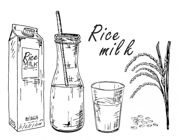 Leite de arroz. desenho de leite vegetal. leite de arroz em uma sacola, em uma garrafa, em um copo. espigas e arroz.