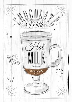 Leite de chocolate do café do cartaz no estilo do vintage que tira no fundo de madeira