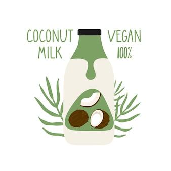 Leite de coco em uma garrafa de desenho animado. embalagem de leite vegan