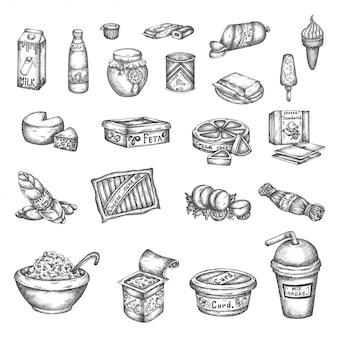 Leite de elementos lácteos mão desenhada