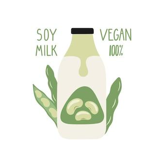 Leite de soja em garrafa de desenho animado. embalagem de leite vegan