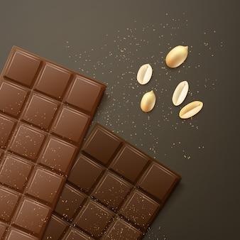 Leite de vetor e barras de chocolate amargo com amendoim, vista superior isolada em fundo escuro