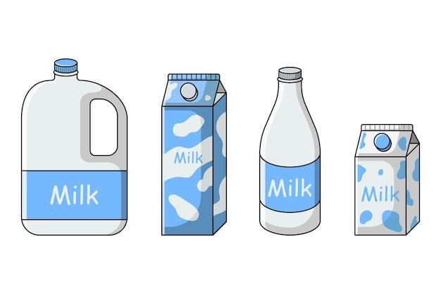 Leite definido em diferentes embalagens cartonagem garrafa galão vasilha
