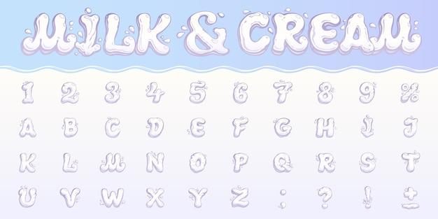 Leite e nata. conjunto de números em inglês, caracteres, sinais de pontuação e sinal de porcentagem. fonte de líquido branca com um salpicos e gotas. alfabeto de mão desenhada dos desenhos animados para projetos de sobremesa diário