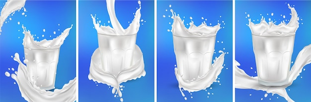 Leite em um copo transparente. salpicos de leite sobre o fundo azul. cocktail de leite. salpicos de leite fresco realista. conjunto 3d