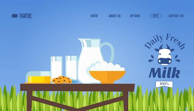 Leite fresco e produtos lácteos, ilustração. modelo de site, design da página de destino.