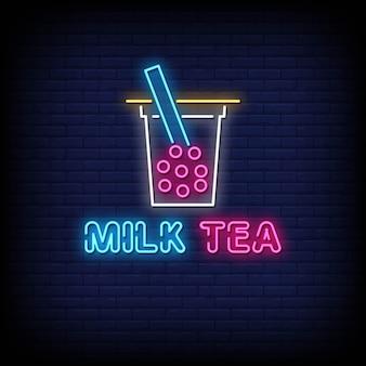 Leite leite néon estilo estilo texto