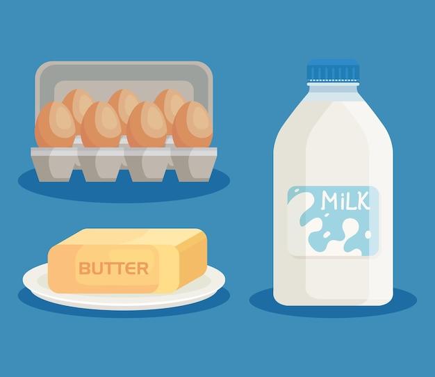 Leite, manteiga e ovos