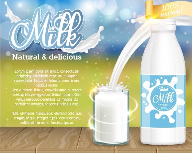 Leite natural e delicioso produto lácteo anúncio realista ilustração vetorial
