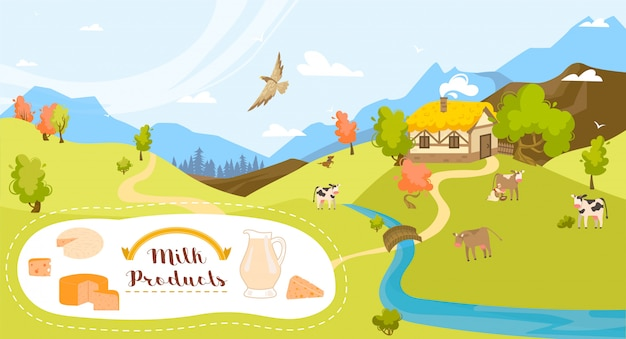 Leite orgânico e produtos lácteos da fazenda, vacas na grama verde do campo e eco agricultura ilustração dos desenhos animados de agricultura.