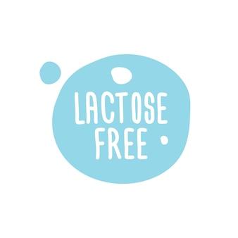 Leite sem lactose, etiqueta redonda com letras em azul. sinal de vetor